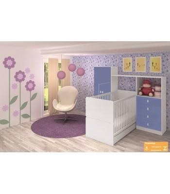 Quarto Compacto Art In Móveis Meu Fofinho Berço Mini cama e Roupeiro Cômoda Azul e Branco