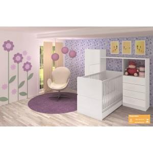 Quarto Compacto Art In Móveis Meu Fofinho Berço Mini cama e Roupeiro Cômoda Branco