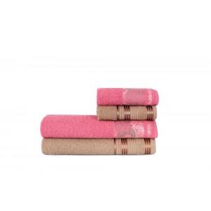 Jogo de Toalha de Banho 4 Peças Atlântica Flores do Tempo Marrom Rosa