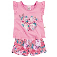 Conjunto para Bebê Blusa e Short Meia Malha Brandili Rosa