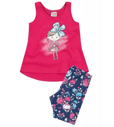 Conjunto para Bebê Brandili com Mini Vestido e Bermuda Ciclista Pink
