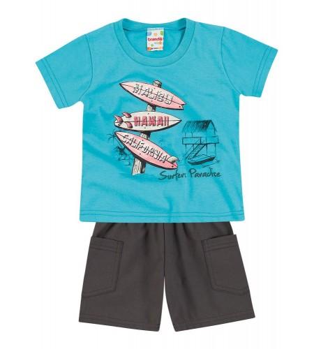 Conjunto para Bebê Brandili Camiseta e Bermuda Azul com Cinza Escuro