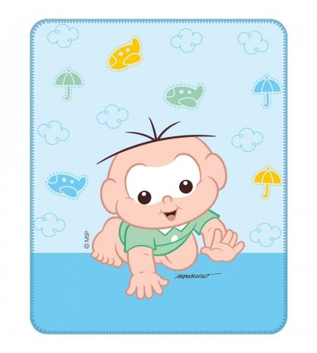 Cobertor para Bebê Incomfral Turma da Mônica Baby 90x 1,10 cms Estampa Cebolinha