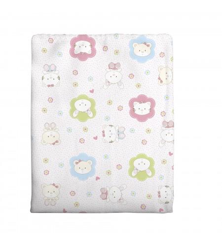 Cobertor para Berço Incomfral 100% Algodão 70 x 90 cms Estampado Rosa