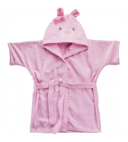 Roupão com Capuz Bodado Baby Joy para Bebês 0 a 3 anos Carinhas Ursinha