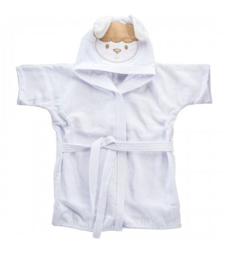 Roupão com Capuz Bodado Baby Joy para Bebês 0 a 3 anos Carinhas Ovelinha