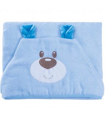 Toalha com Capuz e Forro de Fralda Baby Joy Carinhas Bordada Ursinho Azul