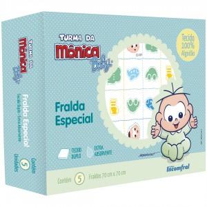 Kit de Fralda Especial Estampada 5 unidades Turma da Monica Baby Cebolinha e Cascão