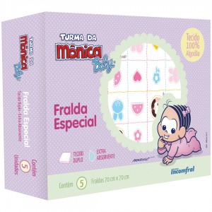 Kit de Fralda Especial Estampada 5 unidades Turma da Monica Baby Monica e Magali
