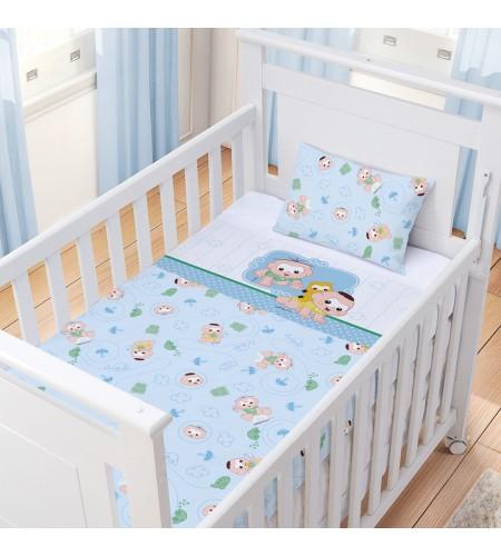 Jogo de Lençol para Berço Padrão Americano 3 Peças Algodão Incomfral Turma da Mônica Baby Estampa Cebolinha e Cascão Azul
