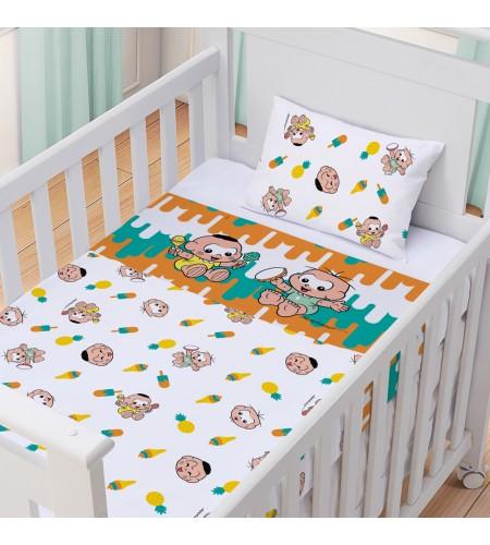 Jogo de Lençol para Berço Padrão Americano 3 Peças Turma da Mônica Baby Estampa Cebolinha e Cascão