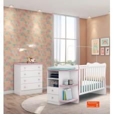 Jogo de Quarto de Bebê Doce Sonho QMovi 3 Peças Berço com Cantoneira, Cômoda e Colchão - Branco Rosa