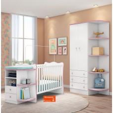 Quarto de Bebê Completo 2 Peças Doce Sonho QMovi Berço com Cantoneira Guarda-Roupas Branco Rosa