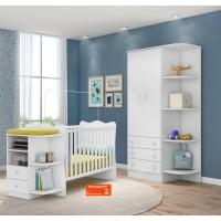 Quarto de Bebê Completo 2 Peças Doce Sonho QMovi Berço com Cantoneira e Guarda-Roupas Branco