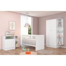 Quarto de Bebê QMOVI Doce Sonho 3 Peças Berço Mini Cama Americano, Guarda-Roupas e Cômoda Branco