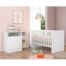 Quarto de Bebê QMOVI Doce Sonho 2 Peças Berço Mini Cama Americano e Cômoda Branco