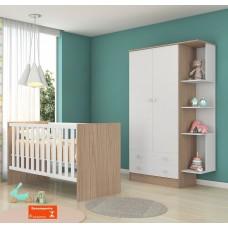 Quarto de Bebê QMOVI Doce Sonho 2 Peças Berço Mini Cama Americano e Guarda-Roupas Branco
