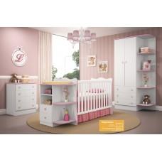 Jogo de Quarto de Bebê Doce Sonho QMovi 3 Peças Berço com Cantoneira, Guarda-Roupas e Cômoda - Branco Rosa