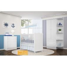 Jogo de Quarto de Bebê QMOVI Doce Sonho Branco 3 Peças com Berço, Guarda-Roupas e Cômoda