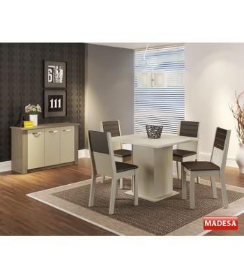 Sala de Jantar Completa com Mesa 4 Cadeiras e Buffet Madesa Vega - Crema Rustic Marrom