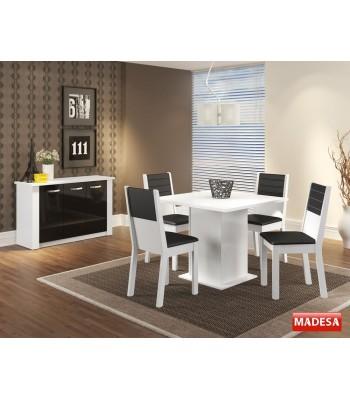 Sala de Jantar Completa com Mesa 4 Cadeiras e Buffet Madesa Vega - Branco Preto