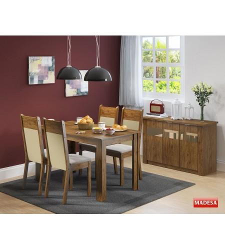 Sala de Jantar Completa com Mesa 4 Cadeiras e Buffet Madesa Havana - Rustic Crema Pérola