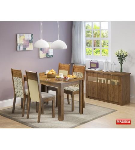 Sala de Jantar Completa com Mesa 4 Cadeiras e Buffet Madesa Havana - Rustic Crema Pérola Florata Grafite