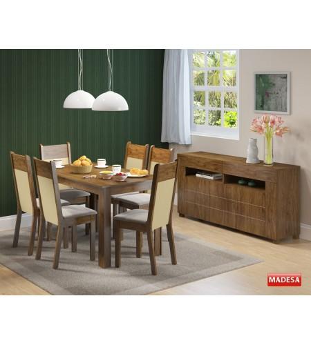 Sala de Jantar Completa com Mesa 6 Cadeiras e Buffet Madesa Honduras - Rustic Crema Pérola