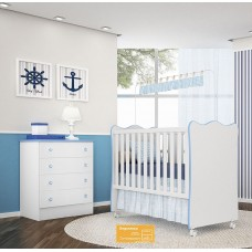 Jogo de Quarto de Bebê Doce Sonho QMovi 2 peças com Berço e Cômoda - Branco Azul