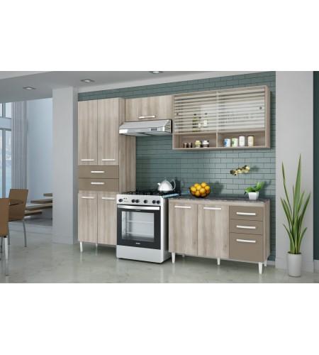 Cozinha Completa com Balcão Aramóveis Joyce Teka Brown Fosco